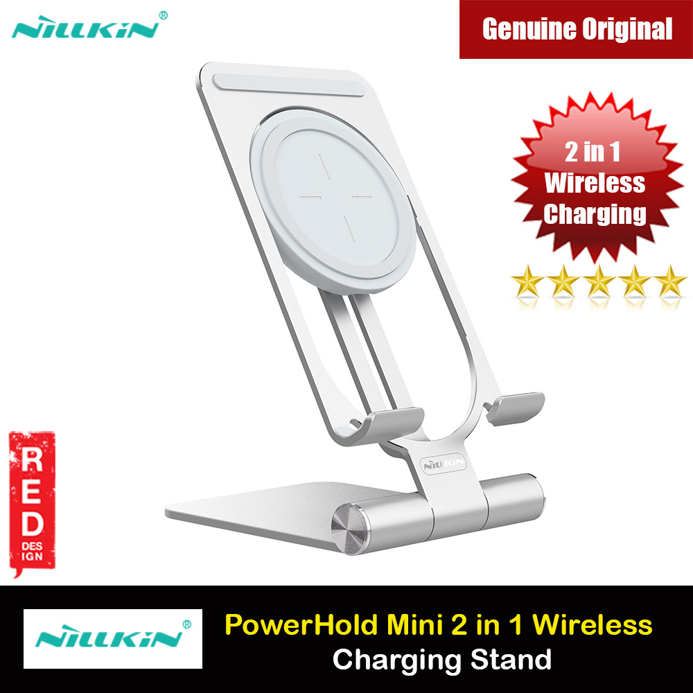 Picture of Nillkin PowerHold 2 in 1 Portable Foldable Travel Mini Wireless Charging Stand 10W Max Heat Dissipation Wireless Charging Wireless Charger for Apple Samsung iPhone 12 Pro Max iPhone 11 Pro Max (Silver) Red Design- Red Design Cases, Red Design Covers, iPad Cases and a wide selection of Red Design Accessories in Malaysia, Sabah, Sarawak and Singapore