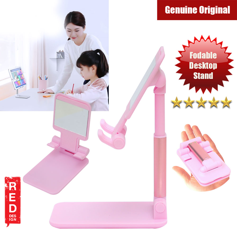 Picture of Aluminum and ABS Pocket Size Foldable Desktop Phone Stand Holder Adjustable Alloy Portable Ergonomic Design Mobile Phone Anti-skid Pads Holder for Phone iPad Tablet up to 7.9 inches (Pink) Red Design- Red Design Cases, Red Design Covers, iPad Cases and a wide selection of Red Design Accessories in Malaysia, Sabah, Sarawak and Singapore
