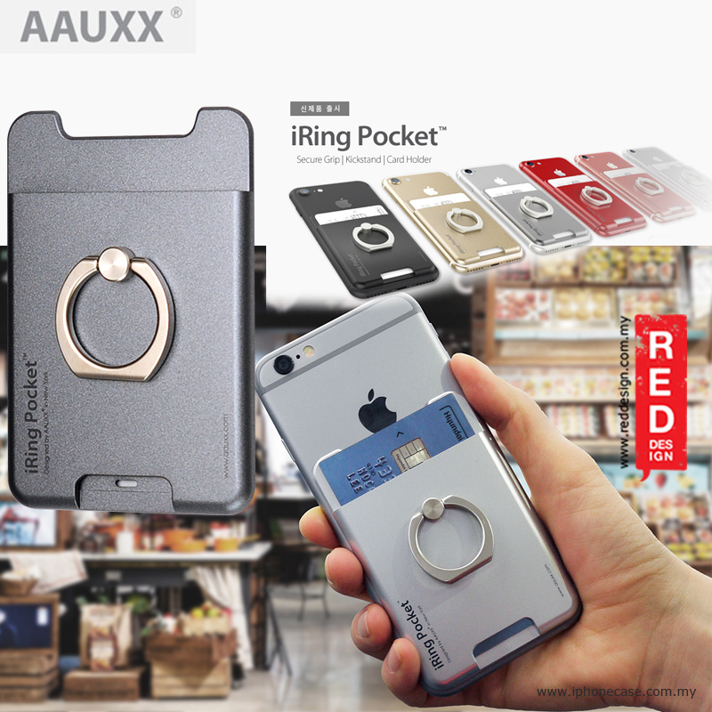 Picture of AAUXX iRing Pocket Card Holder With Universal Phone Grip and Stand - Graphite Grey Red Design- Red Design Cases, Red Design Covers, iPad Cases and a wide selection of Red Design Accessories in Malaysia, Sabah, Sarawak and Singapore
