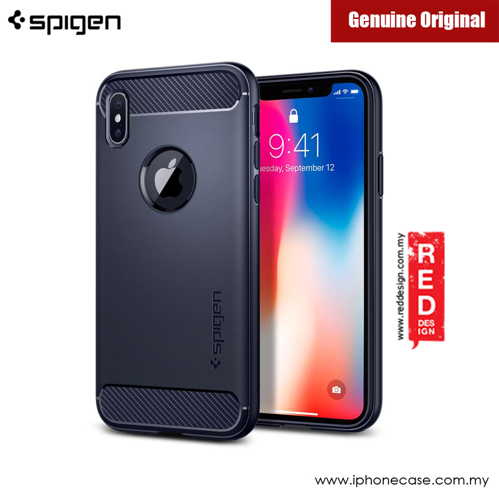 Picture of Apple iPhone X Case | Spigen Rugged Armor Protection Case for Apple iPhone X (Midnight Blue)