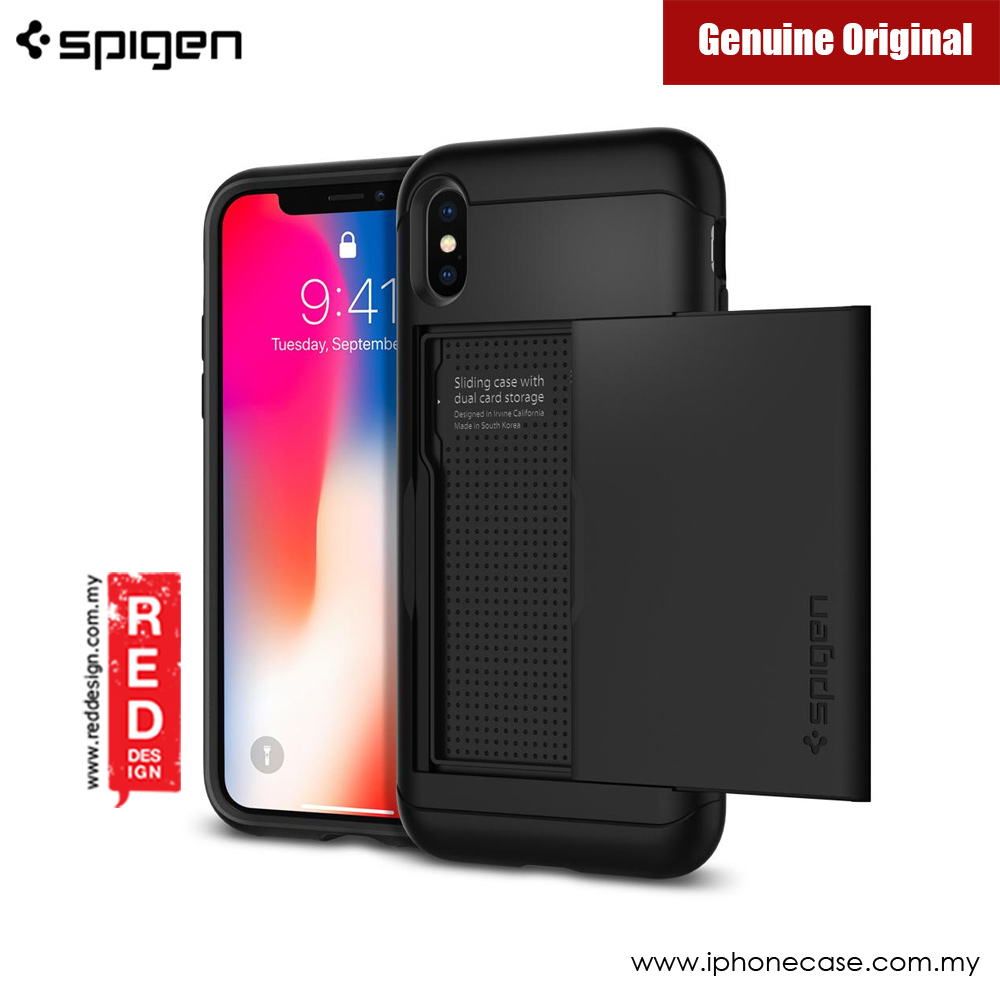 Picture of Apple iPhone X Case | Spigen Slim Armor CS Card Wallet Protection Case for Apple iPhone X (Black)