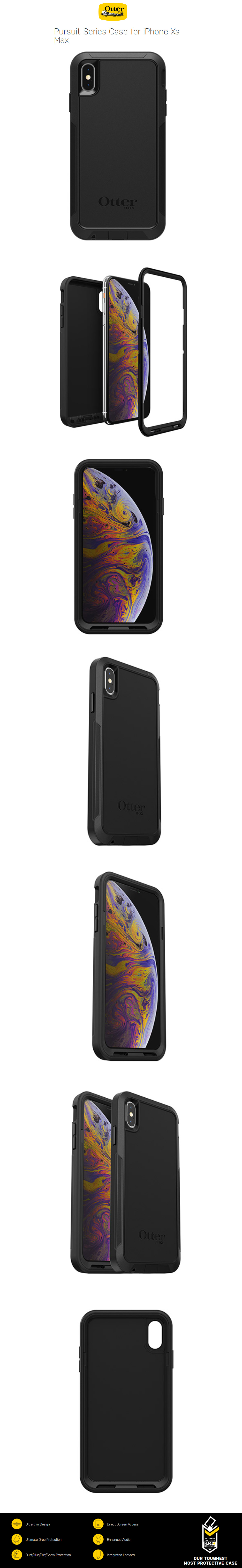 new concept 86503 db3fc Otterbox Pursuit Series Case for iPhone Xs Max (Black)