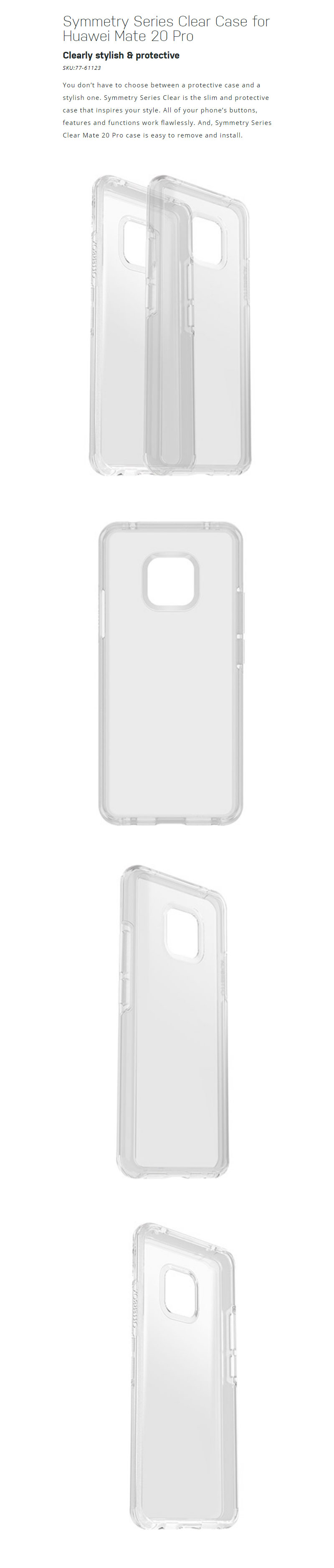 big sale 4a66c 0b281 Otterbox Symmetry Series Clear Case for Huawei Mate 20 Pro (Clear)