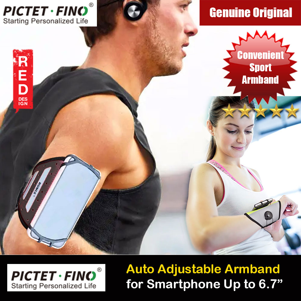 Picture of Pictet Fino PVC leather Foam Reflective Fabric Material Rotatable Easy Wear Remove Armband Wristband for Outdoor Sport Running Hiking Riding Climbing for Smartphone up to 6.7 inches (Black) Red Design- Red Design Cases, Red Design Covers, iPad Cases and a wide selection of Red Design Accessories in Malaysia, Sabah, Sarawak and Singapore
