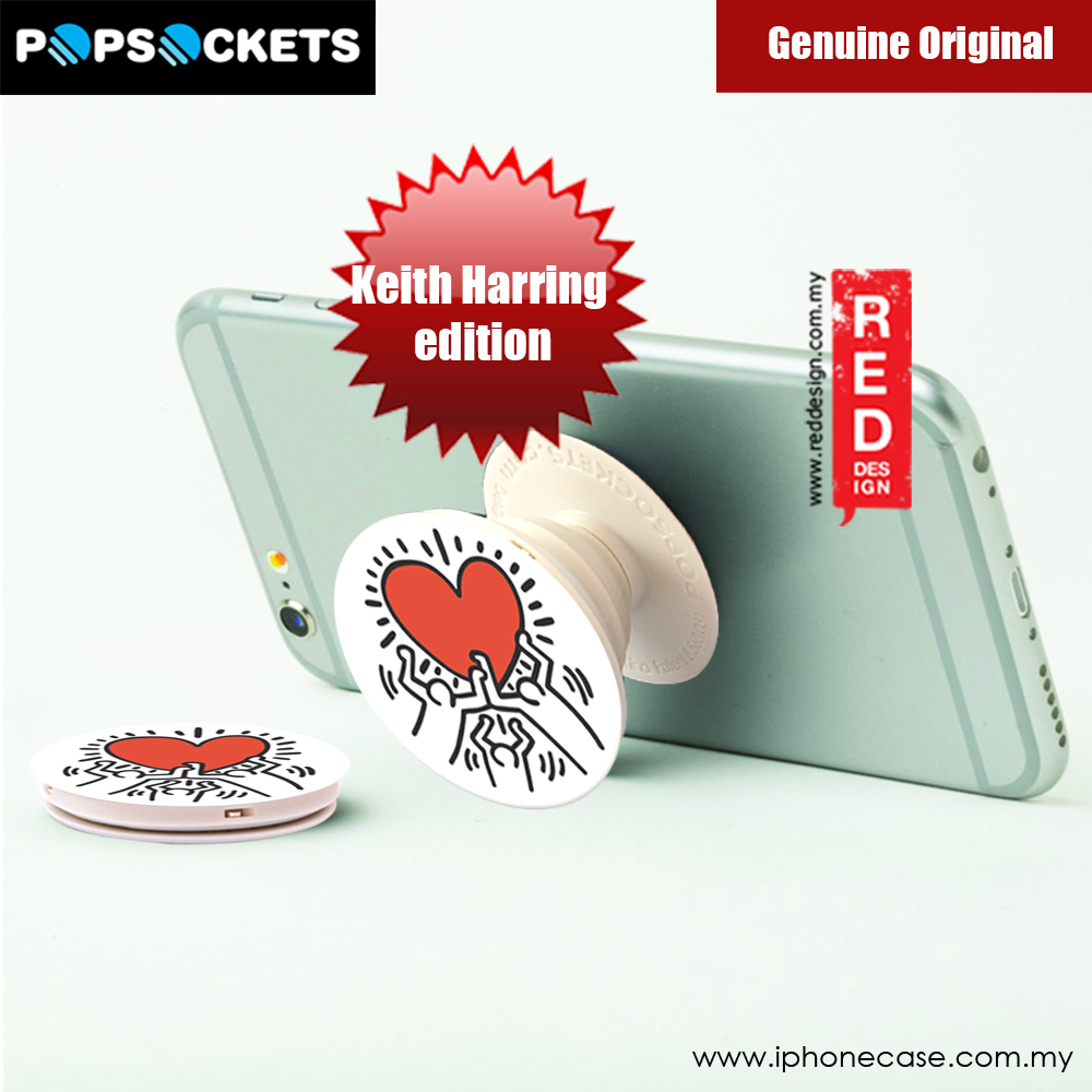 Picture of Popsockets A Phone Grip A Phone Stand An Earbud Management System (3 FIGURES HOLDING A HEART)Licence: Keith Harring edition