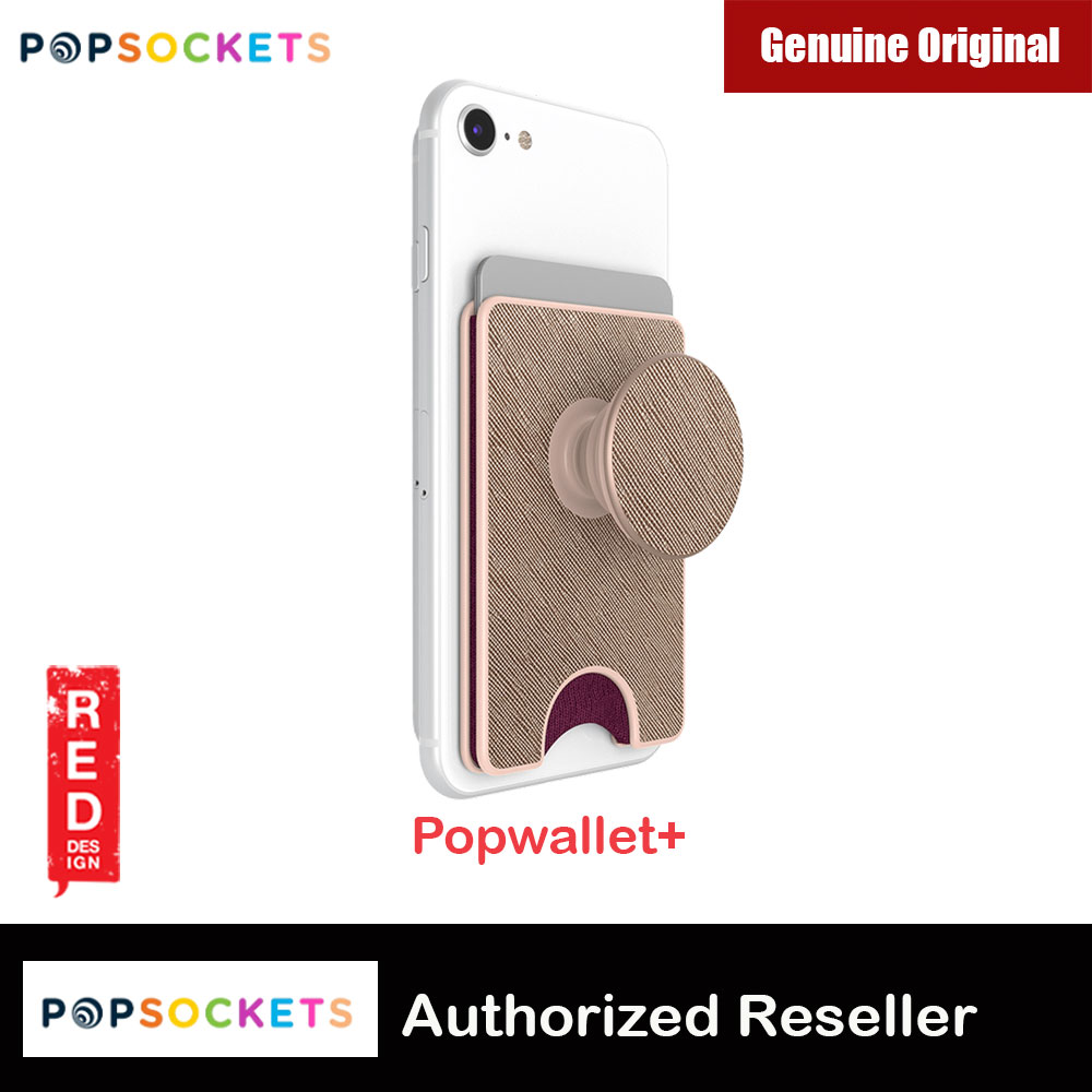 Picture of Popsocket Popwallet Plus Card Holder Credit Card Holder Parking Ticket Holder Card Wallet (Premium Saffiano Rose Gold) Red Design- Red Design Cases, Red Design Covers, iPad Cases and a wide selection of Red Design Accessories in Malaysia, Sabah, Sarawak and Singapore