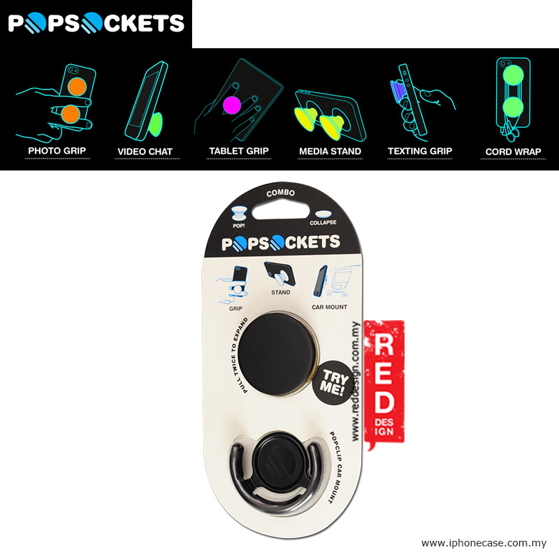 Picture of Popsockets A Grip A Stand An Earbud Management System with PopClip - Combo Black Red Design- Red Design Cases, Red Design Covers, iPad Cases and a wide selection of Red Design Accessories in Malaysia, Sabah, Sarawak and Singapore