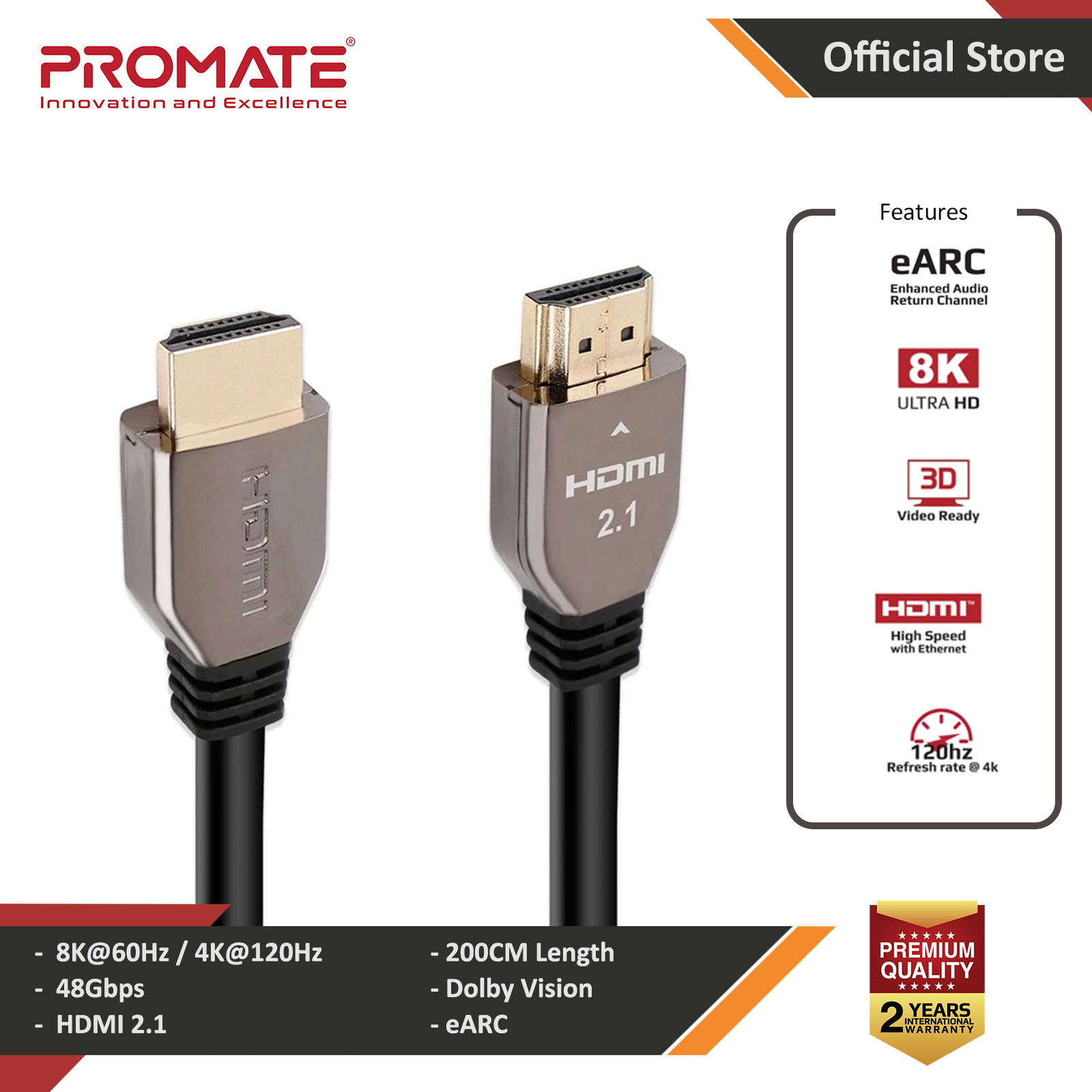 Picture of PROMATE ProLink8K-200 Ultra HD High Speed 8K HDMI 2.1 Audio Video Cable HDR Colour Support eARC Connectivity Dolby Vision 2 meter 200cm Cable Length Red Design- Red Design Cases, Red Design Covers, iPad Cases and a wide selection of Red Design Accessories in Malaysia, Sabah, Sarawak and Singapore