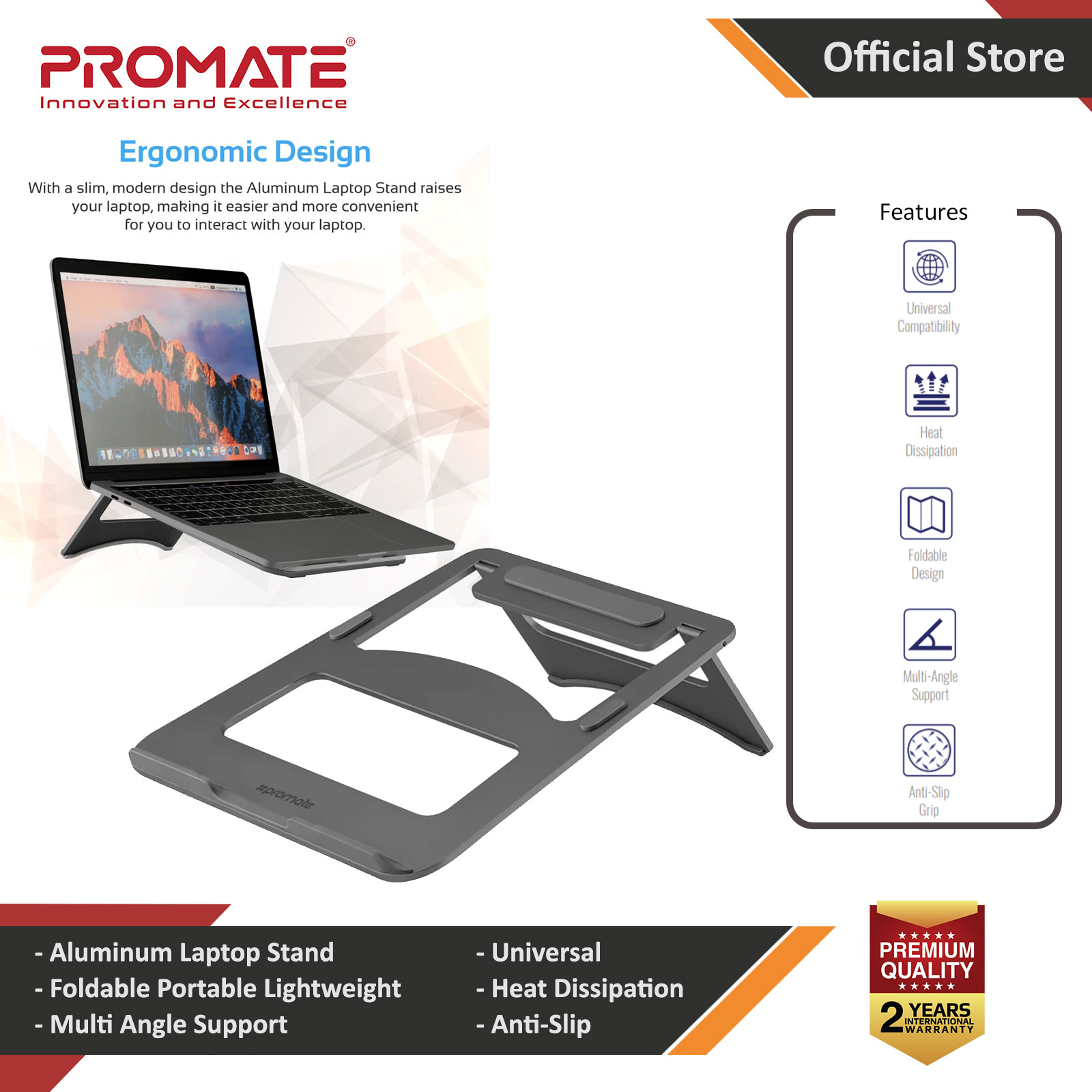 Picture of Promate Laptop Stand Premium Ultra-Slim Portable Adjustable Aluminium Laptop Stand with Folding Holder Anti-Slip Grip and Heat Dissipation for Apple MacBook Pro Laptops Notebook Red Design- Red Design Cases, Red Design Covers, iPad Cases and a wide selection of Red Design Accessories in Malaysia, Sabah, Sarawak and Singapore