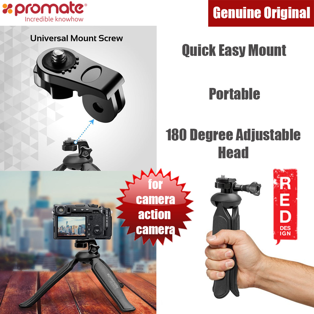 Picture of Promate Lightweight Camera Action Camera Mini Tripod with 180 Degree Adjustable Head (Black) Red Design- Red Design Cases, Red Design Covers, iPad Cases and a wide selection of Red Design Accessories in Malaysia, Sabah, Sarawak and Singapore