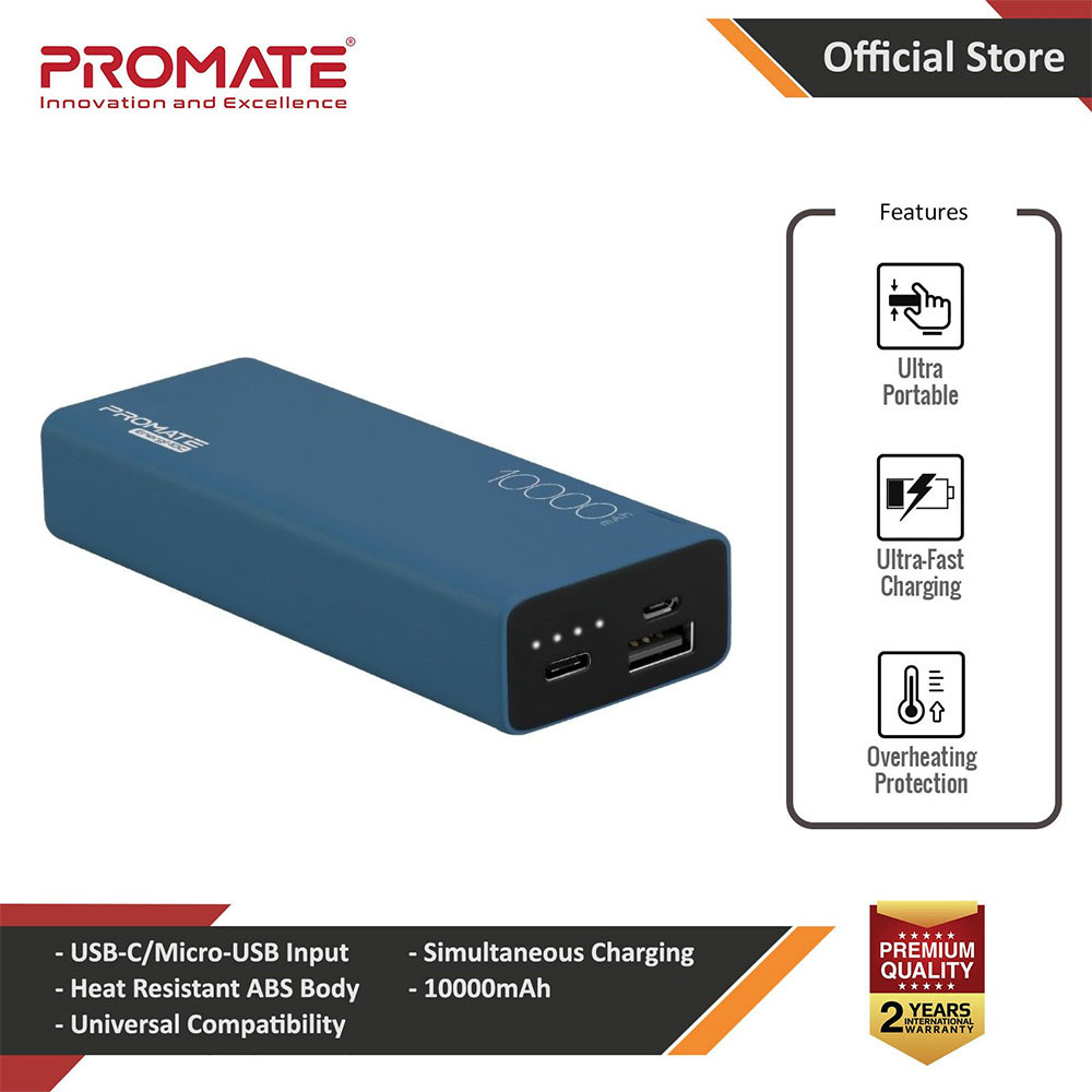 Picture of Promate USB C Power Bank Ultra-Slim 10000mAh Input Output Type-C External Battery Pack with 2.1A USB Charging Port and Over-Heating Protection for iPhone Samsung Pixel Type-c iPad Pro Energi-10C (Blue) Red Design- Red Design Cases, Red Design Covers, iPad Cases and a wide selection of Red Design Accessories in Malaysia, Sabah, Sarawak and Singapore