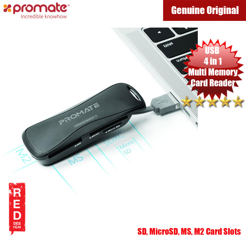 Picture of Promate 4-in-1 Portable Multi Memory Card Reader USB 2.0 Red Design- Red Design Cases, Red Design Covers, iPad Cases and a wide selection of Red Design Accessories in Malaysia, Sabah, Sarawak and Singapore