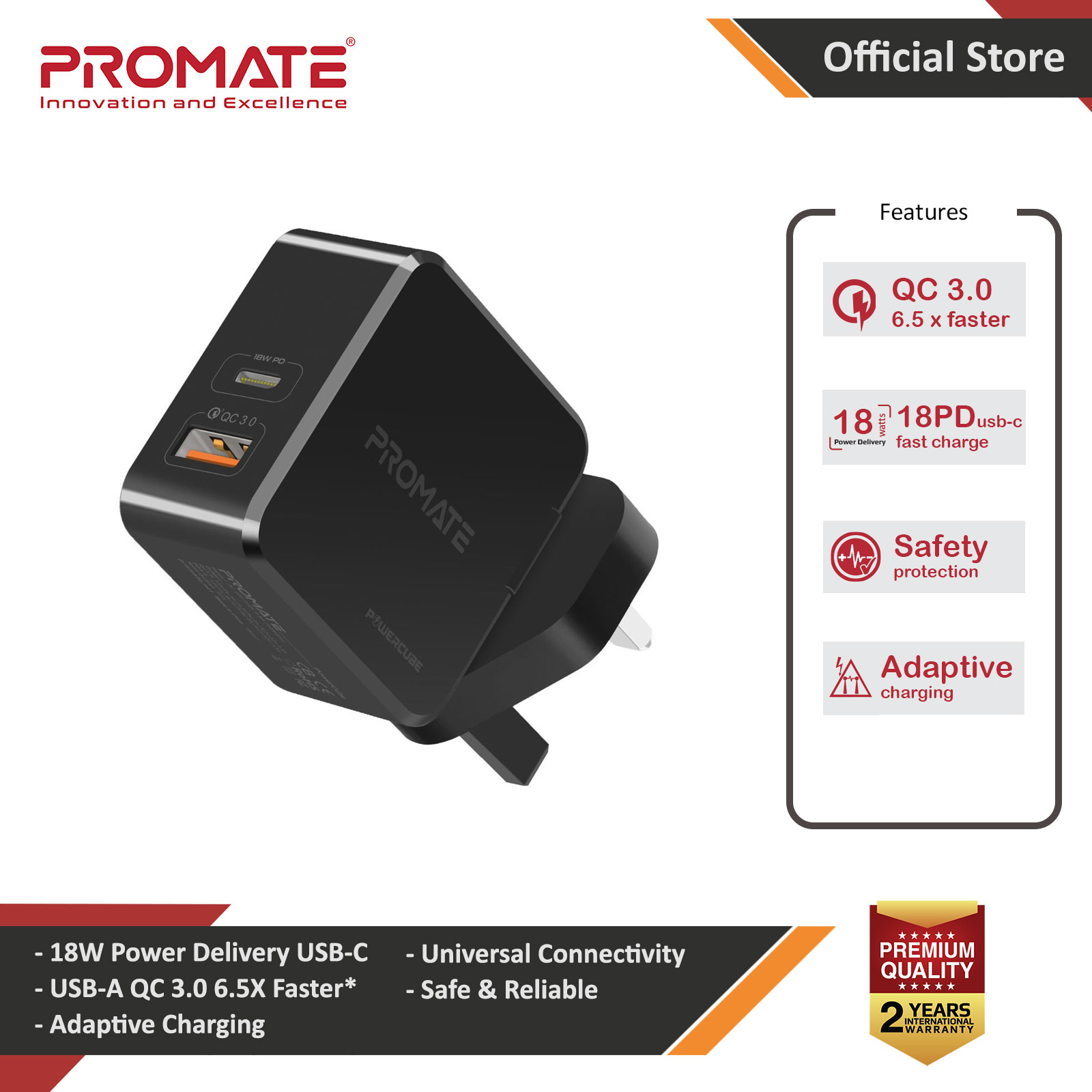 Picture of Promate 36W PD USB-C Wall Charger with Qualcomm Quick Charge QC3.0 Port Fast Charging Power Delivery for iPhone 8 and up Quick Charge for All Androids for iPhone 11 Pro Max (Black) Red Design- Red Design Cases, Red Design Covers, iPad Cases and a wide selection of Red Design Accessories in Malaysia, Sabah, Sarawak and Singapore