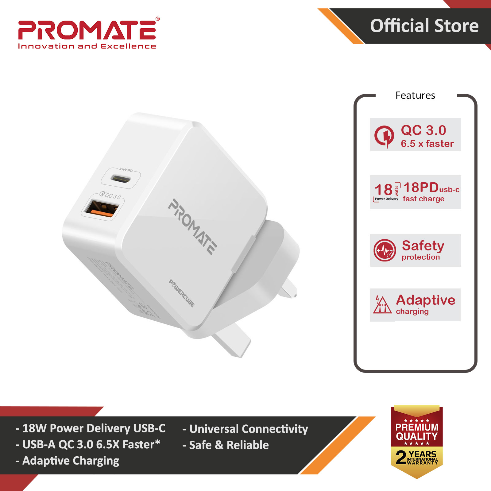 Picture of Promate 36W PD USB-C Wall Charger with Qualcomm Quick Charge QC3.0 Port Fast Charging Power Delivery for iPhone 8 and up Quick Charge for All Androids for iPhone 11 Pro Max (White) Red Design- Red Design Cases, Red Design Covers, iPad Cases and a wide selection of Red Design Accessories in Malaysia, Sabah, Sarawak and Singapore