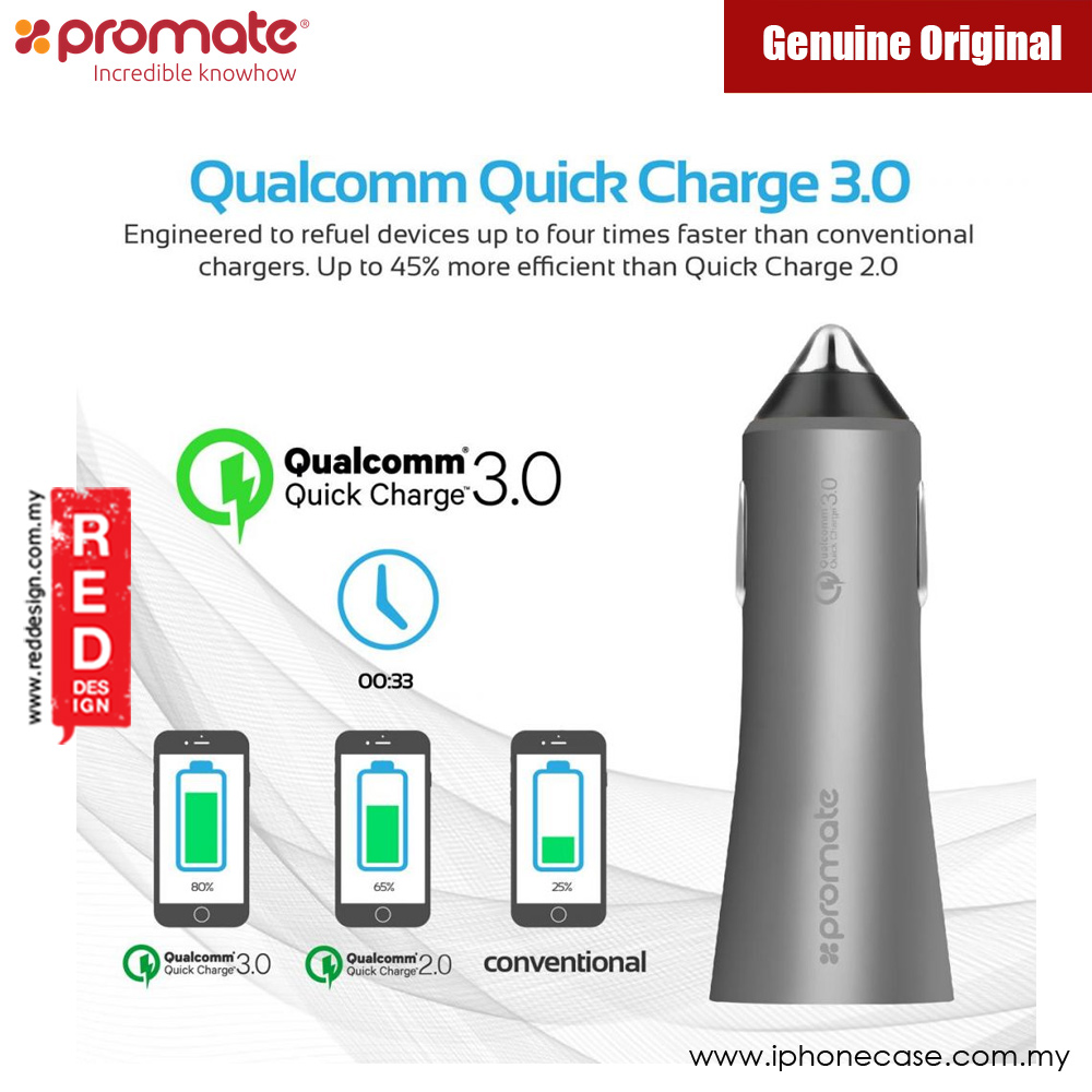 Picture of Promate Robust Car Charger with Qualcomm Quick Charge 3.0 Dual USB (Grey)