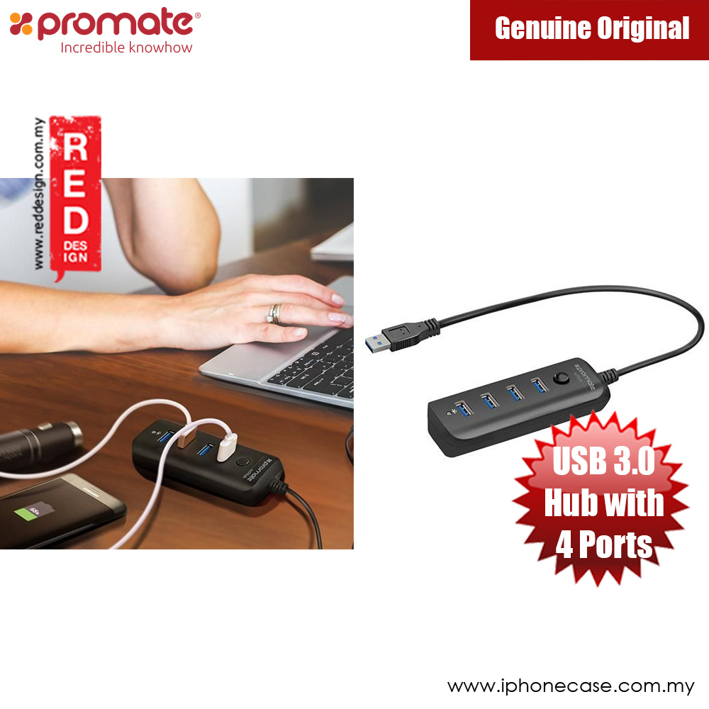 Picture of Promate Ultra-fast Usb 3.0 Hub With 4 Charge And Sync Ports Ezhub (Black) Red Design- Red Design Cases, Red Design Covers, iPad Cases and a wide selection of Red Design Accessories in Malaysia, Sabah, Sarawak and Singapore