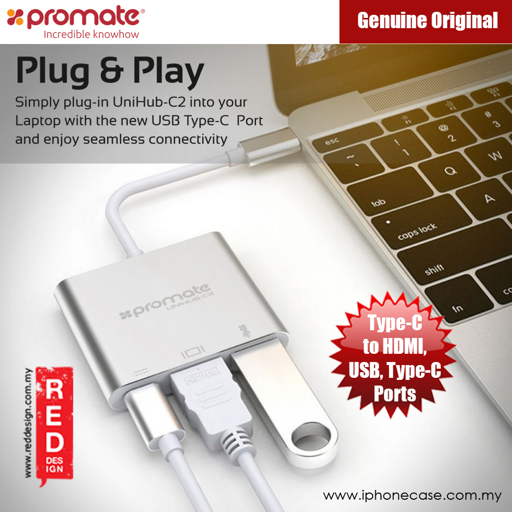 Picture of Promate USB-C Hub with Power Delivery HDMI 4K Ultra HD USB 3.0 Ports (UniHub-C2) Red Design- Red Design Cases, Red Design Covers, iPad Cases and a wide selection of Red Design Accessories in Malaysia, Sabah, Sarawak and Singapore