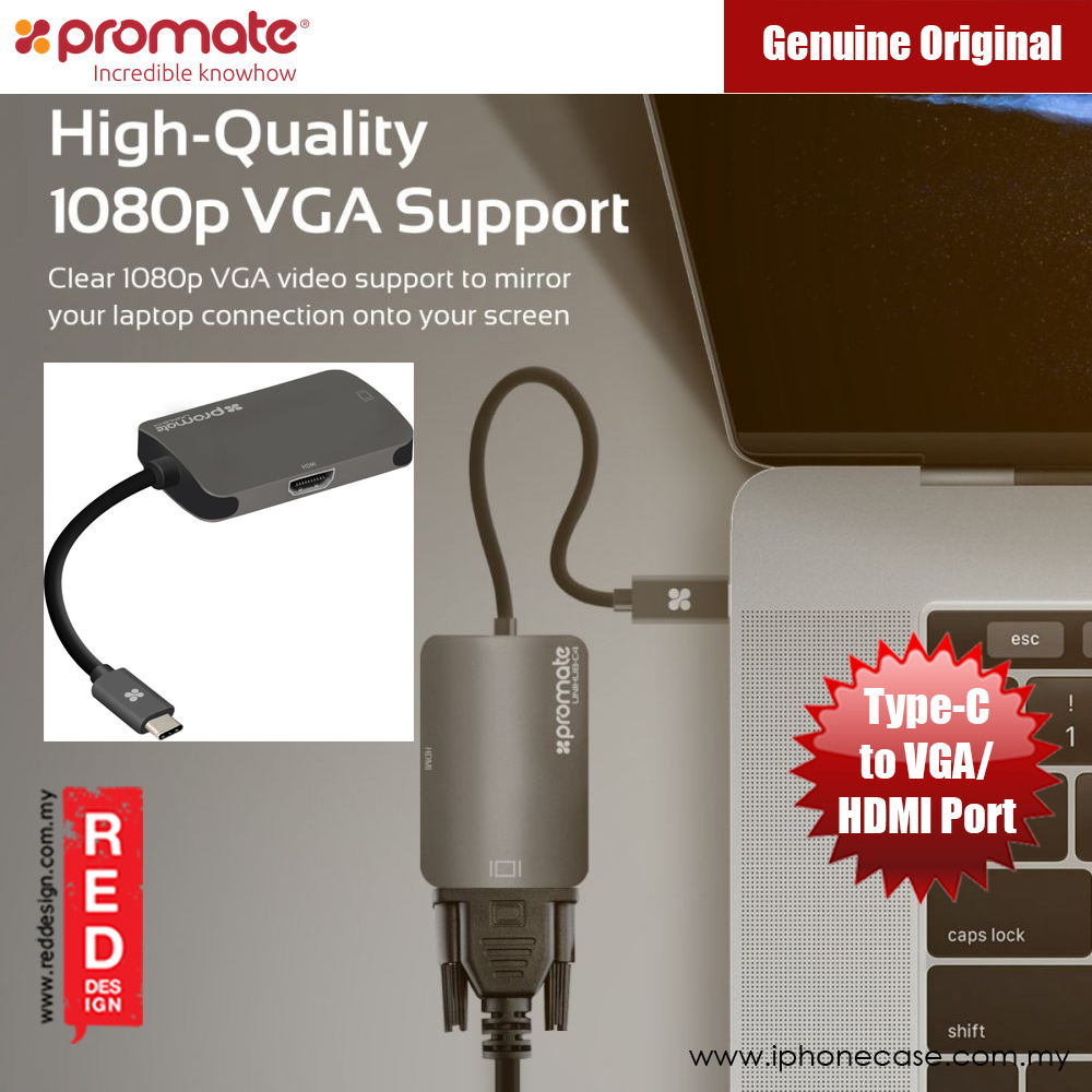 Picture of Promate USB Type-C to HDMI 4K Ultra HD VGA 1080p Adapter (uniHub-C4) Red Design- Red Design Cases, Red Design Covers, iPad Cases and a wide selection of Red Design Accessories in Malaysia, Sabah, Sarawak and Singapore