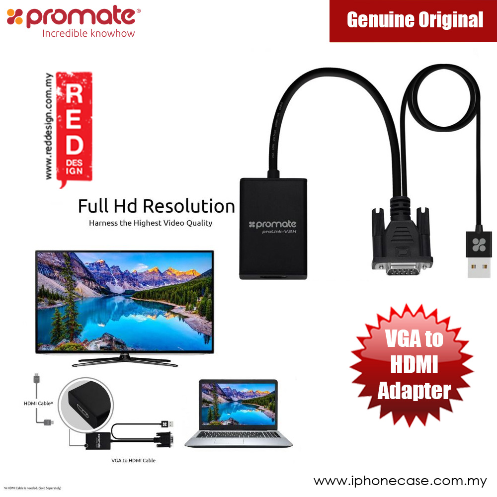 Picture of Promate VGA to HDMI Adapter Video Cable Converter Adapter Kit Plug and Play with Audio Support Red Design- Red Design Cases, Red Design Covers, iPad Cases and a wide selection of Red Design Accessories in Malaysia, Sabah, Sarawak and Singapore