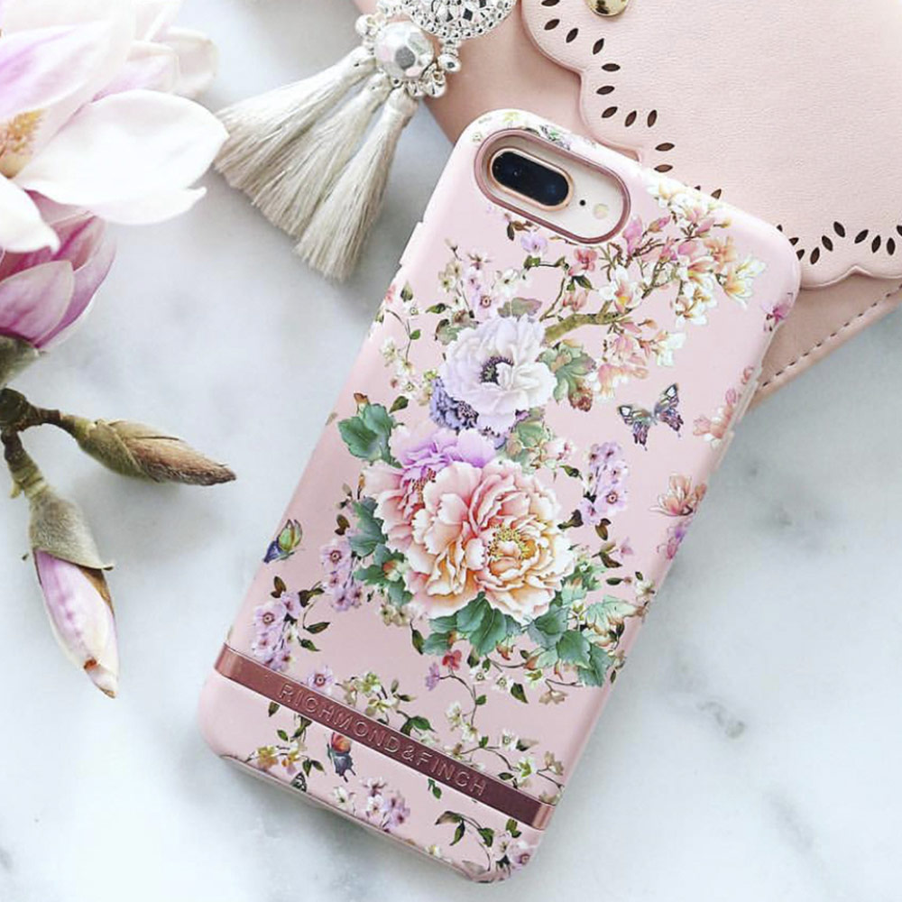 Picture of Apple iPhone 8 Plus Case | Richmond and Finch unique design for female protection case for Apple iPhone 6S Plus 7 Plus 8 Plus (Peonies and Butterflies)