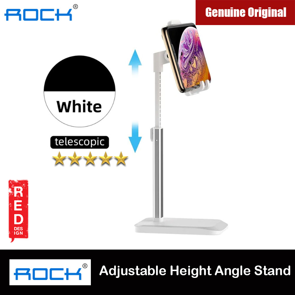Picture of Rock Aluminum and ABS Retractable Desktop Phone Stand Holder Adjustable Alloy Portable Ergonomic Design Mobile Phone Anti-skid Pads Holder for Phone iPad Tablet up to 7.9 inches (White) Red Design- Red Design Cases, Red Design Covers, iPad Cases and a wide selection of Red Design Accessories in Malaysia, Sabah, Sarawak and Singapore
