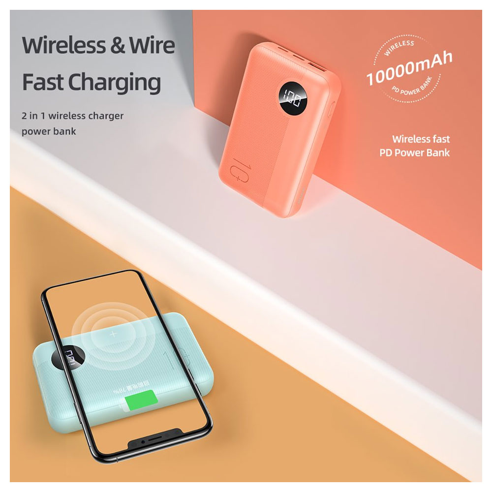 Picture of Rock P75 Mini PD Fast Charge and Wireless Power Bank 10000mah for iPhone Huawei Samsung (Orange)