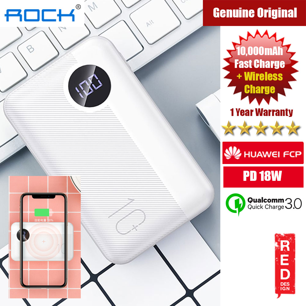 Picture of Rock P75 Mini PD Fast Charge and Wireless Power Bank 10000mah for iPhone Huawei Samsung (White) Red Design- Red Design Cases, Red Design Covers, iPad Cases and a wide selection of Red Design Accessories in Malaysia, Sabah, Sarawak and Singapore