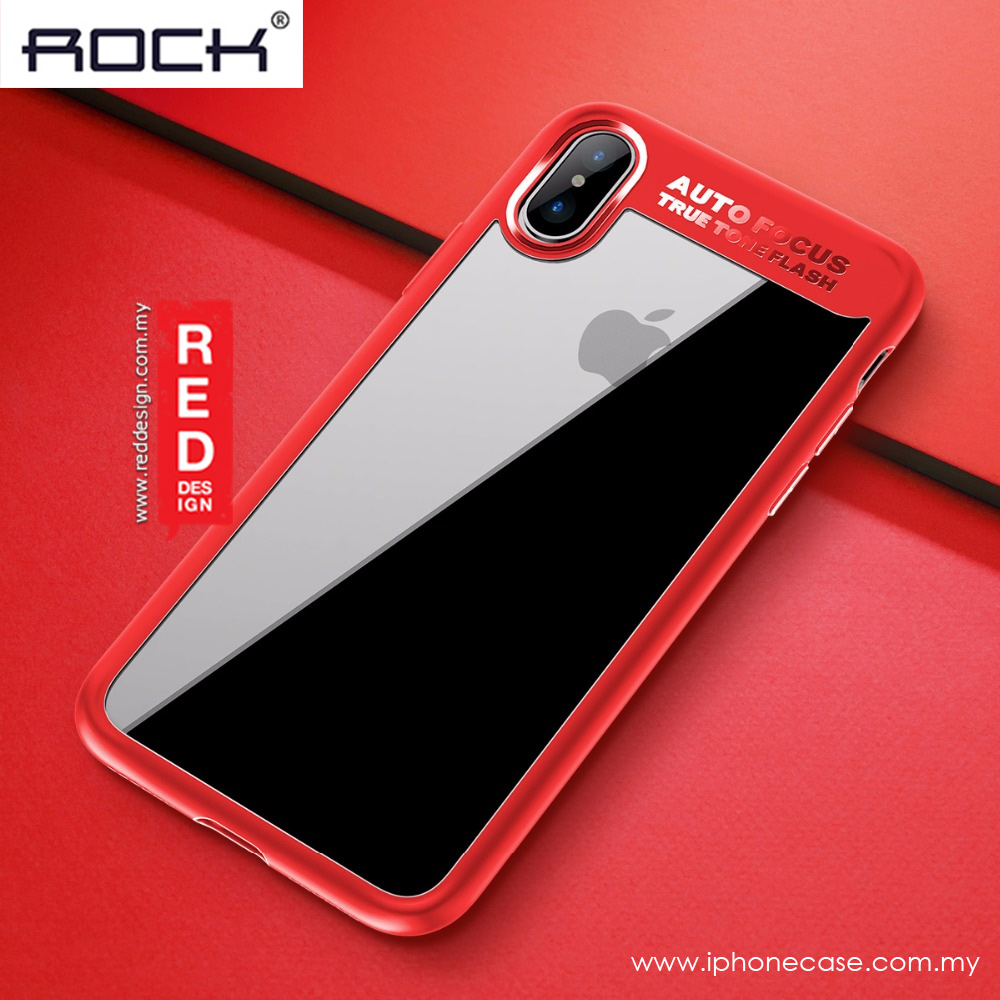 Picture of Apple iPhone X Case | Rock Clarity Series Protection Case for Apple iPhone XS iPhone X (Red)