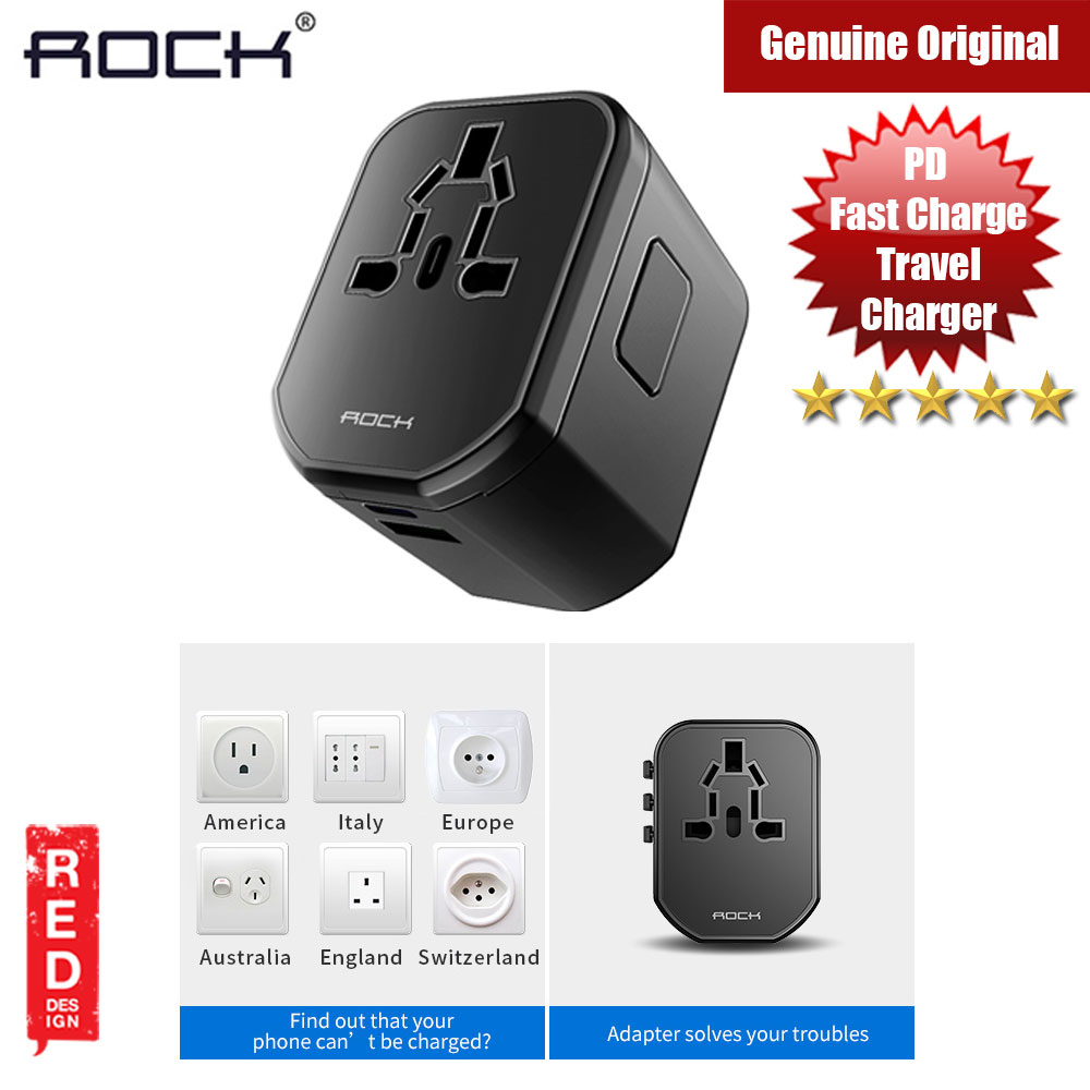 Picture of Rock Multifunctional Plug Travel Charger PD Version with Type C and Type A USB  (Black) Red Design- Red Design Cases, Red Design Covers, iPad Cases and a wide selection of Red Design Accessories in Malaysia, Sabah, Sarawak and Singapore