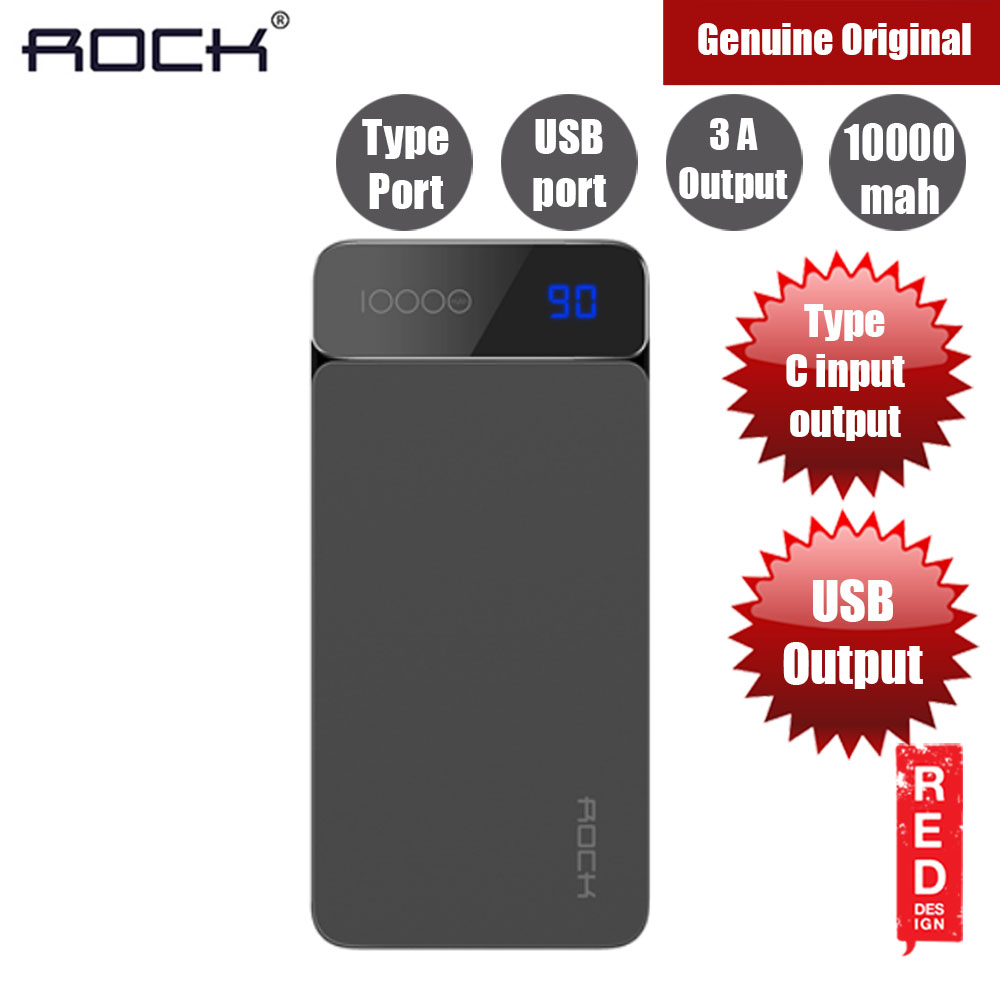 Picture of Rock P38 USB and Type C Output Fast Charge Power Bank 10000mah (Grey) Red Design- Red Design Cases, Red Design Covers, iPad Cases and a wide selection of Red Design Accessories in Malaysia, Sabah, Sarawak and Singapore