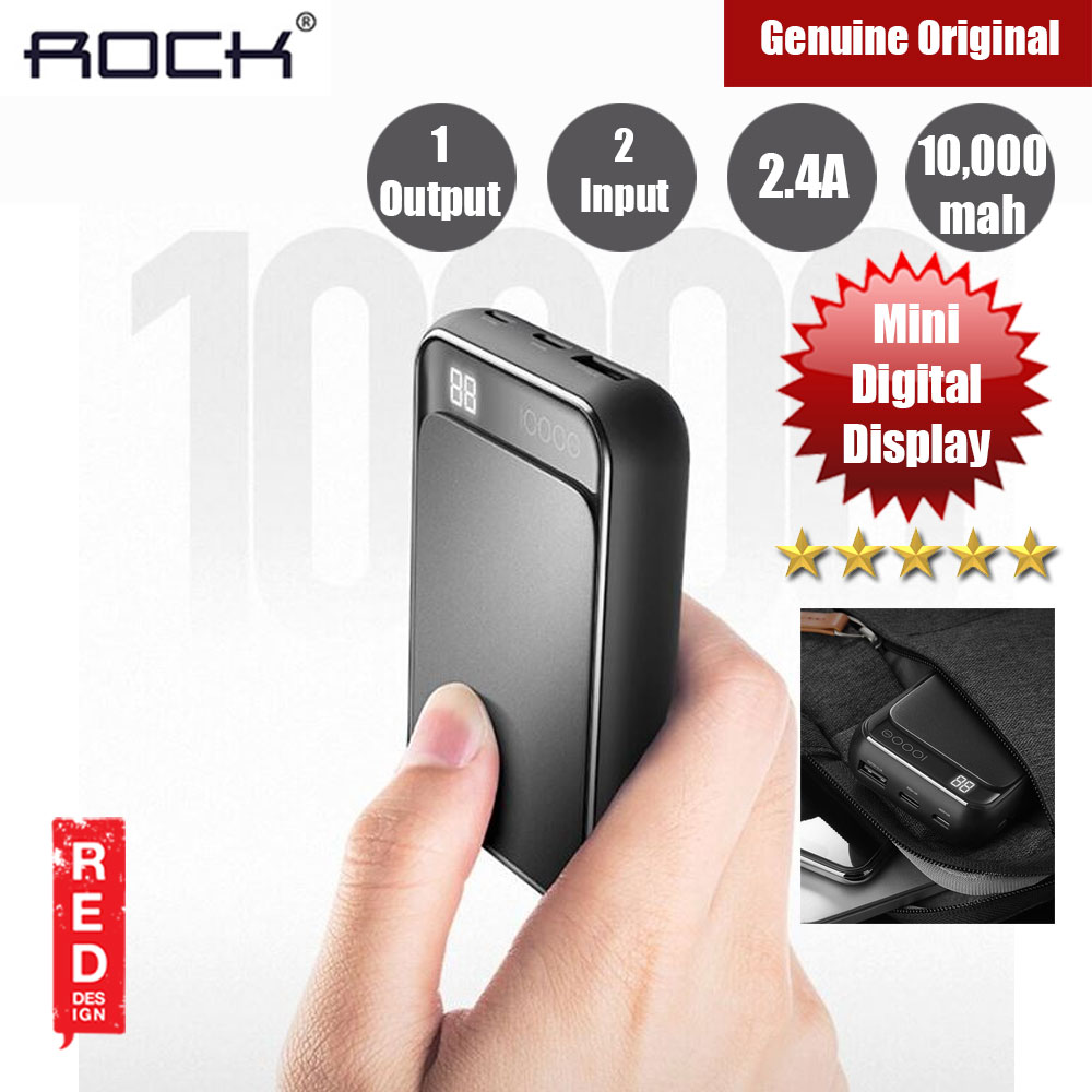 Picture of Rock P63 Mini Power Bank with LED Support 10000mah (Black) Red Design- Red Design Cases, Red Design Covers, iPad Cases and a wide selection of Red Design Accessories in Malaysia, Sabah, Sarawak and Singapore