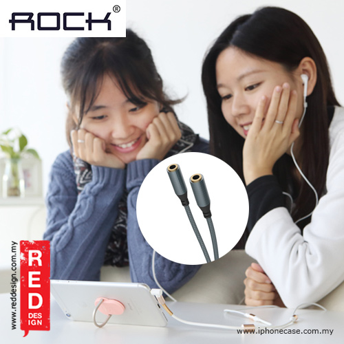 Picture of Rock 3.5mm 1 to 2 Audio Sharing Cable Y Splitter - Metal Slate