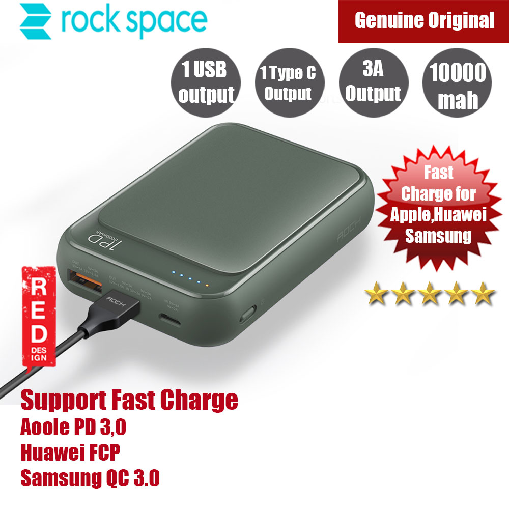 Picture of Rock Space P65 Mini PD Power Bank Support QC3 FCP 10000mah (Tea Green) Red Design- Red Design Cases, Red Design Covers, iPad Cases and a wide selection of Red Design Accessories in Malaysia, Sabah, Sarawak and Singapore