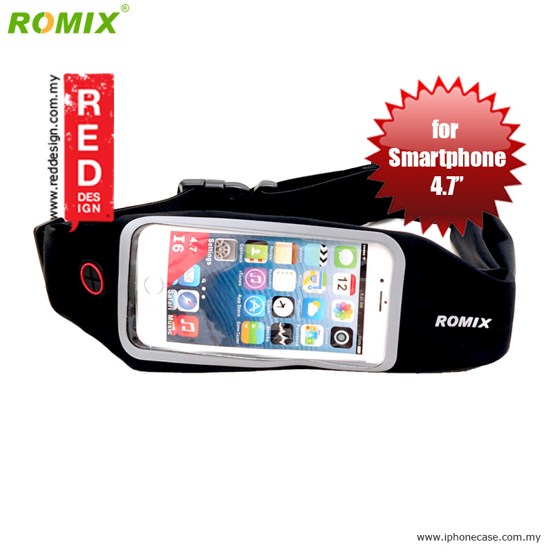 "Picture of Romix Window Touch Screen Running Belt Waist Pouch for up to 4.7"" Smartphone - Black Red Design- Red Design Cases, Red Design Covers, iPad Cases and a wide selection of Red Design Accessories in Malaysia, Sabah, Sarawak and Singapore"