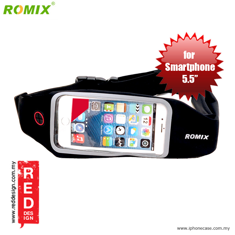 "Picture of Romix Window Touch Screen Running Belt Waist Pouch for up to 5.5"" Smartphone - Black Red Design- Red Design Cases, Red Design Covers, iPad Cases and a wide selection of Red Design Accessories in Malaysia, Sabah, Sarawak and Singapore"