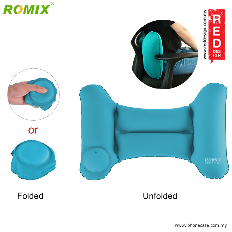 Picture of Romix Travel Back Cushion Pillow Inflatabl and Foldable - Green Red Design- Red Design Cases, Red Design Covers, iPad Cases and a wide selection of Red Design Accessories in Malaysia, Sabah, Sarawak and Singapore