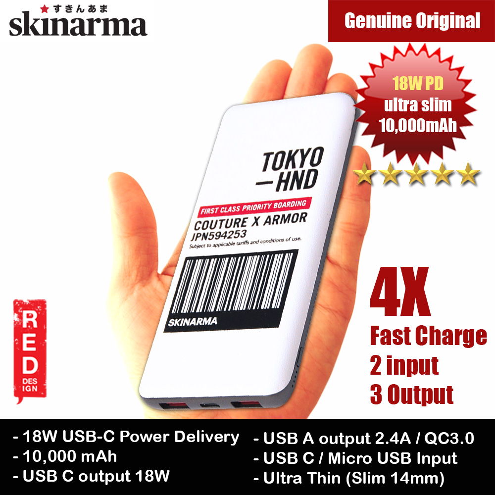 Picture of Skinarma Ultra Slim 18W PD Power Delivery Fast Charge Power Bank 10000mAh (Bando White) Red Design- Red Design Cases, Red Design Covers, iPad Cases and a wide selection of Red Design Accessories in Malaysia, Sabah, Sarawak and Singapore