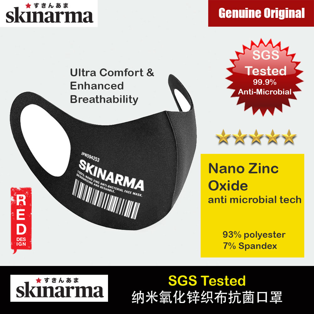 Picture of Skinarma Washable Stretchable Durable Fabric Comfort Fit Nano Zinc Oxide Anti Microbial Tech That Kills 99.9% Airborne Bacteria Reusable Face Mask with Airo Breathe Technology (KOKYU WHITE) Red Design- Red Design Cases, Red Design Covers, iPad Cases and a wide selection of Red Design Accessories in Malaysia, Sabah, Sarawak and Singapore