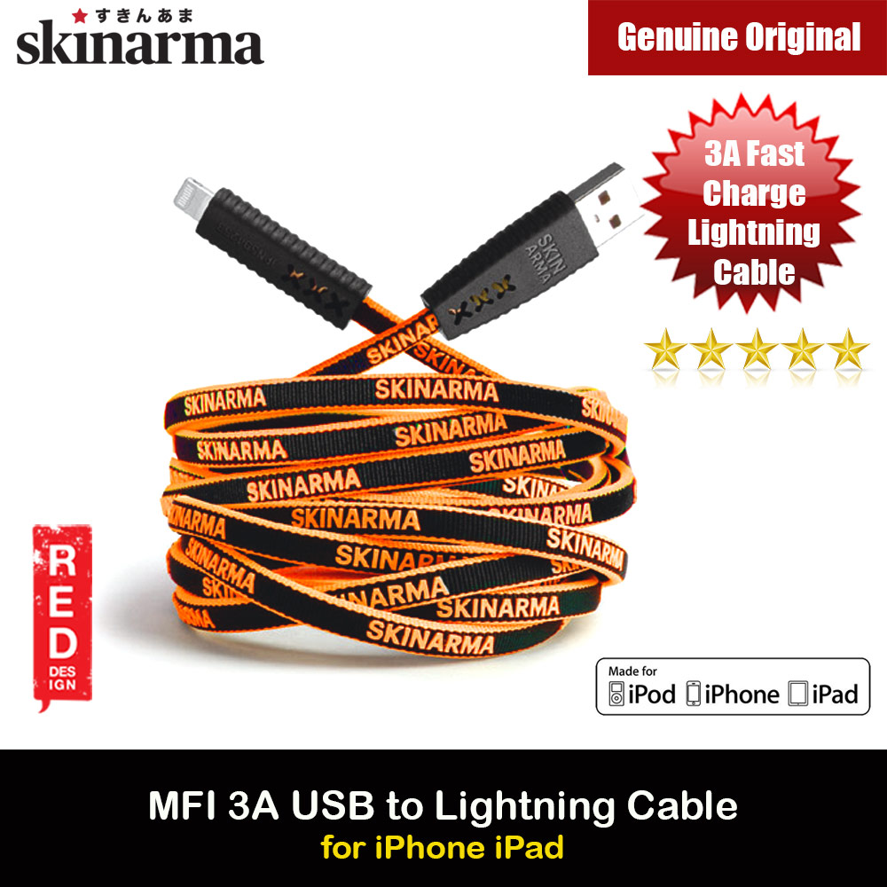 Picture of Skinarma Tenso MFI Certified 3A Rapid Charge and Sync Lightning Cable 120CM (Orange) Red Design- Red Design Cases, Red Design Covers, iPad Cases and a wide selection of Red Design Accessories in Malaysia, Sabah, Sarawak and Singapore
