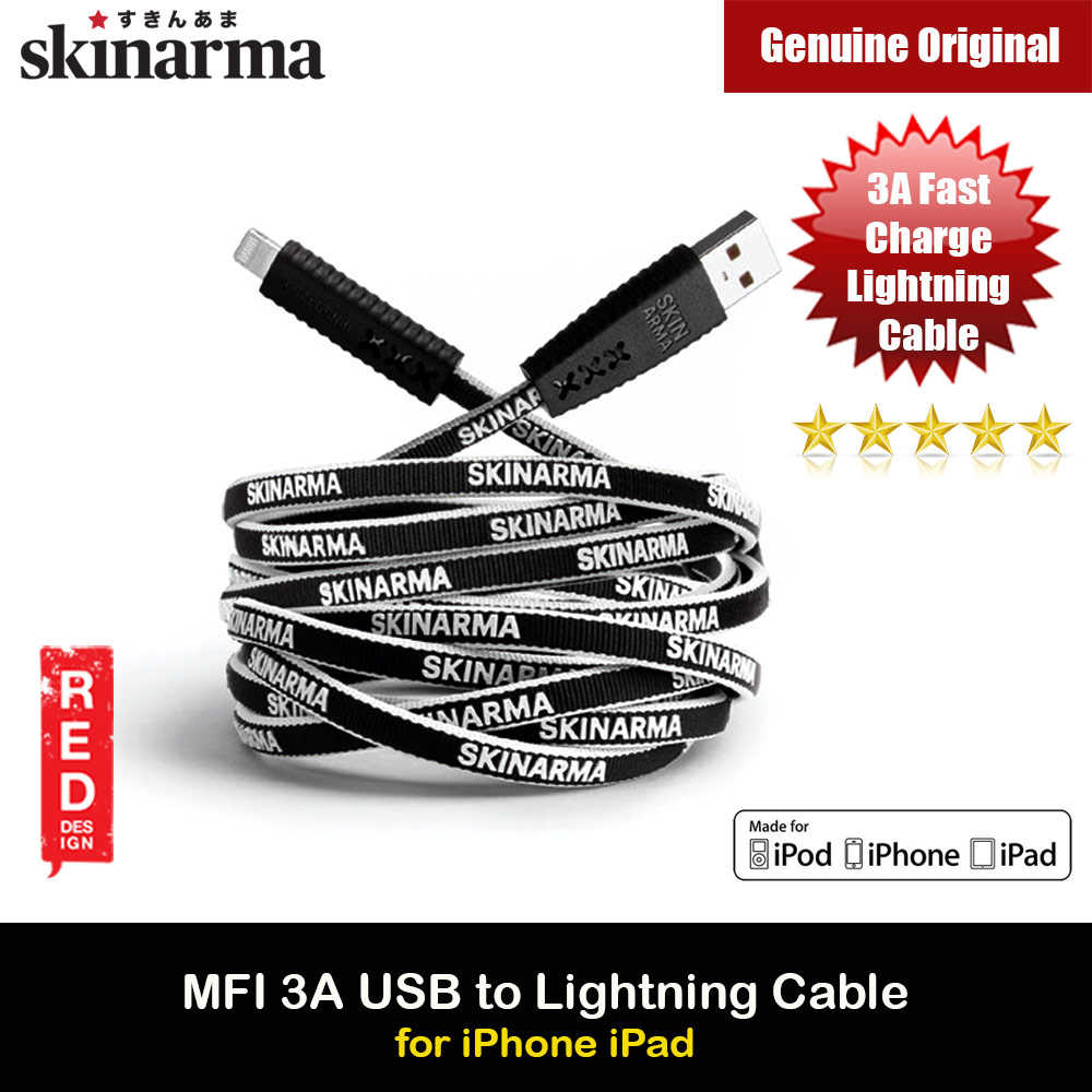 Picture of Skinarma Tenso MFI Certified 3A Rapid Charge and Sync Lightning Cable 120CM (White) Red Design- Red Design Cases, Red Design Covers, iPad Cases and a wide selection of Red Design Accessories in Malaysia, Sabah, Sarawak and Singapore