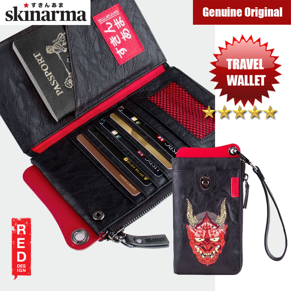 Picture of Skinarma Irezumi Travel Wallet with Strap Wallet with 7 inner card slots 2 Zip Compartments Passport Holder Front Clasp Pocket Stylish Travel Wallet (Oni) Red Design- Red Design Cases, Red Design Covers, iPad Cases and a wide selection of Red Design Accessories in Malaysia, Sabah, Sarawak and Singapore