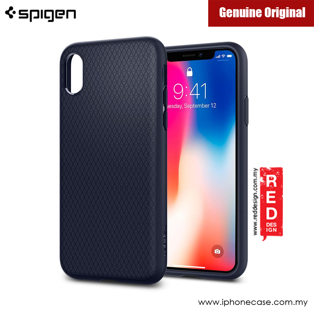 Picture of Apple iPhone X Case | Spigen Liquid Air Protection Case for Apple iPhone X (Midnight Blue)