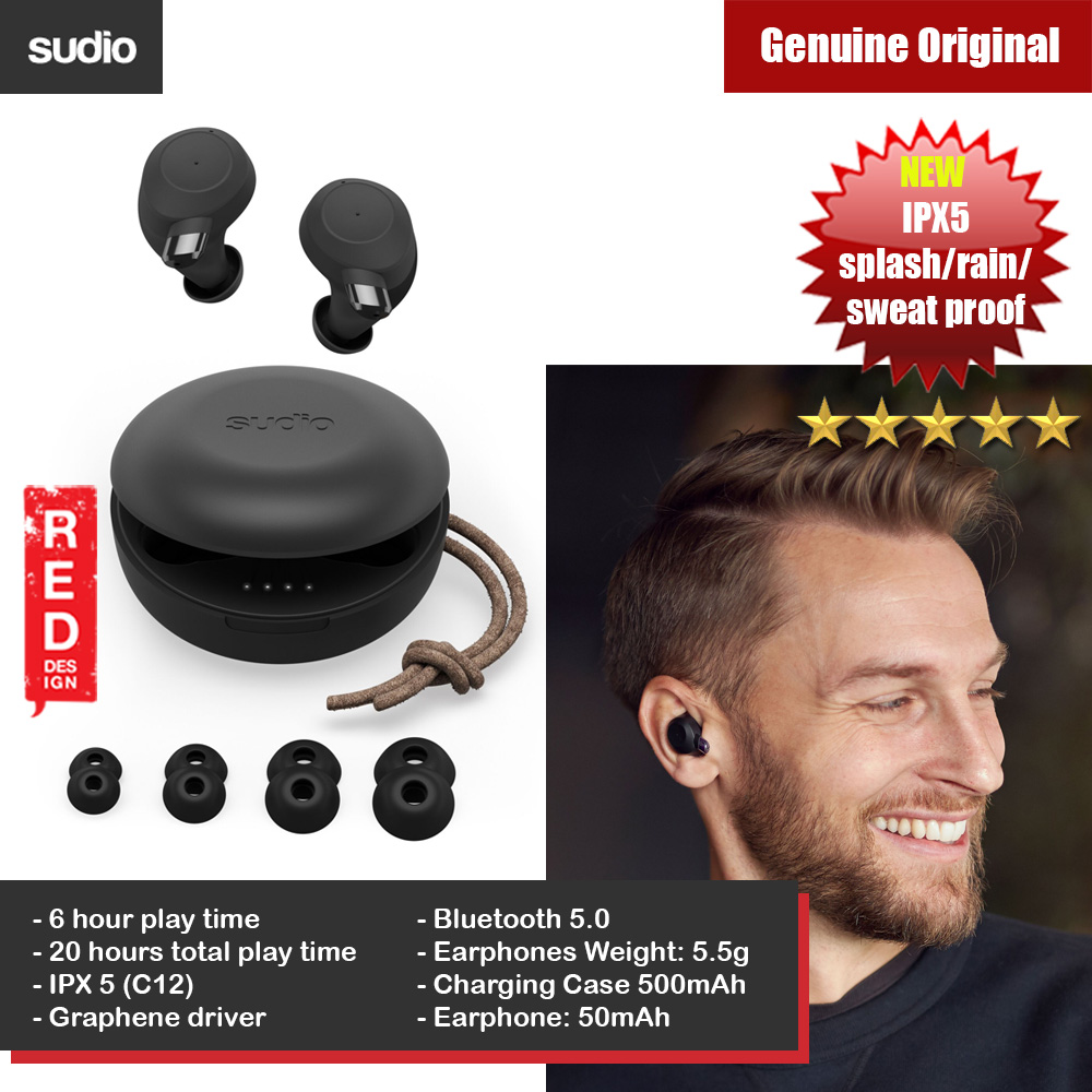 Picture of Sudio FEM TWS True Wireless Bluetooth Earbuds Splash Proof Rain Proof Sweat Proof Earbus Wireless Earphones (Black) Red Design- Red Design Cases, Red Design Covers, iPad Cases and a wide selection of Red Design Accessories in Malaysia, Sabah, Sarawak and Singapore