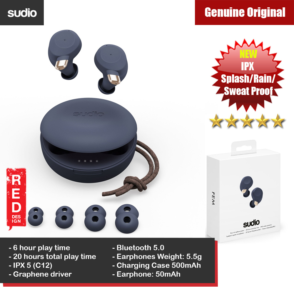 Picture of Sudio FEM TWS True Wireless Bluetooth Earbuds Splash Proof Rain Proof Sweat Proof Earbus Wireless Earphones (Dark Blue) Red Design- Red Design Cases, Red Design Covers, iPad Cases and a wide selection of Red Design Accessories in Malaysia, Sabah, Sarawak and Singapore