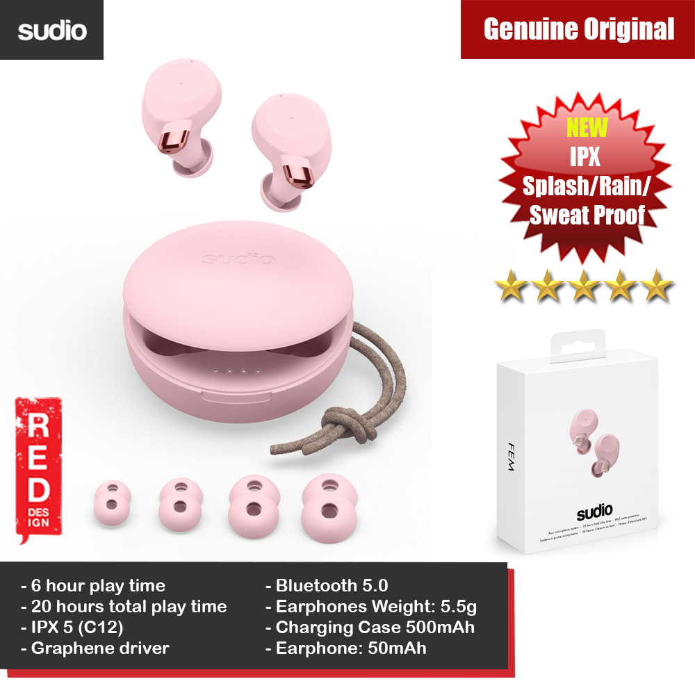Picture of Sudio FEM TWS True Wireless Bluetooth Earbuds Splash Proof Rain Proof Sweat Proof Earbus Wireless Earphones (Pink) Red Design- Red Design Cases, Red Design Covers, iPad Cases and a wide selection of Red Design Accessories in Malaysia, Sabah, Sarawak and Singapore