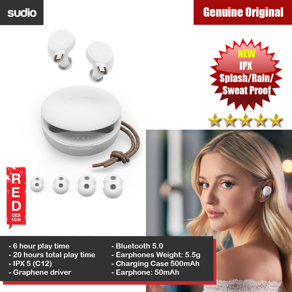 Picture of Sudio FEM TWS True Wireless Bluetooth Earbuds Splash Proof Rain Proof Sweat Proof Earbus Wireless Earphones (White) Red Design- Red Design Cases, Red Design Covers, iPad Cases and a wide selection of Red Design Accessories in Malaysia, Sabah, Sarawak and Singapore