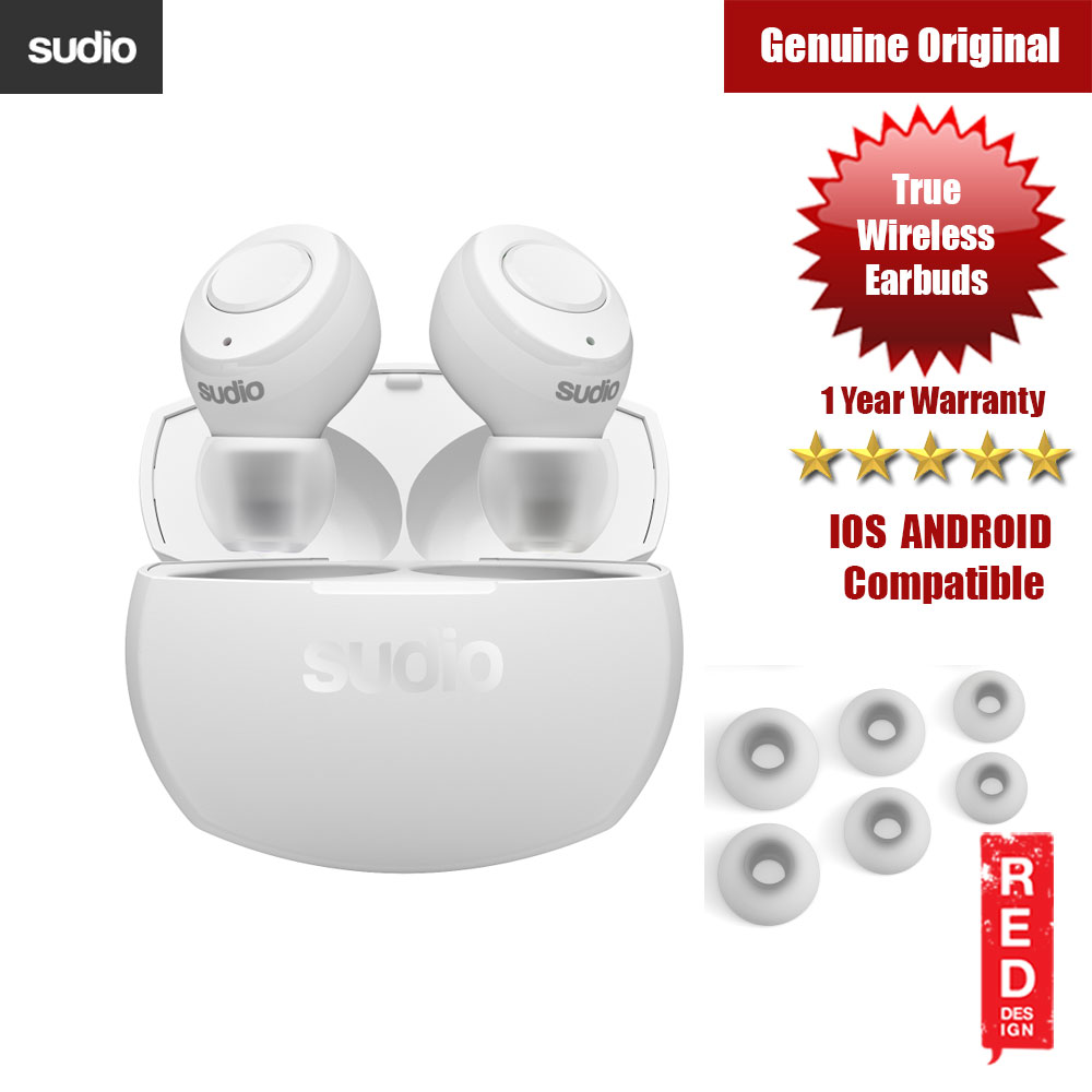 Picture of Sudio TOLV R TWS True Wireless Bluetooth Earbuds (White) Red Design- Red Design Cases, Red Design Covers, iPad Cases and a wide selection of Red Design Accessories in Malaysia, Sabah, Sarawak and Singapore