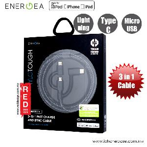 Picture of Energea NYLOTOUGH 3 in 1 MFI Lightning MicroUSB Type C Rapid Charge and Sync Braid Cable 1.5M (Black) Red Design- Red Design Cases, Red Design Covers, iPad Cases and a wide selection of Red Design Accessories in Malaysia, Sabah, Sarawak and Singapore