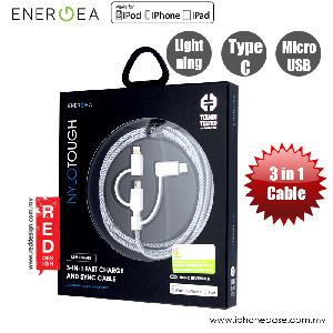 Picture of Energea NYLOTOUGH 3 in 1 MFI Lightning MicroUSB Type C Rapid Charge and Sync Braid Cable 1.5M (Black)