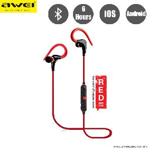 Picture of Awei Bluetooth Wireless Sports Earphones with Ear Hook A890BL Red Design- Red Design Cases, Red Design Covers, iPad Cases and a wide selection of Red Design Accessories in Malaysia, Sabah, Sarawak and Singapore